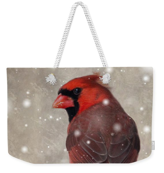 Male Cardinal In Snow #1 Weekender Tote Bag