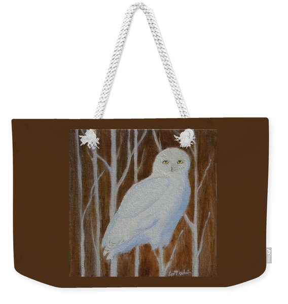 Male Snowy Owl Portrait Weekender Tote Bag