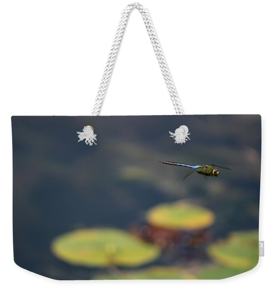 Malibu Blue Dragonfly Flying Over Lotus Pond Weekender Tote Bag