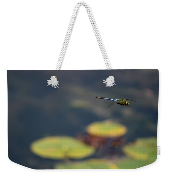 Malibu Blue Dragonfly Flying Over Lotus Pond Weekender Tote Bag