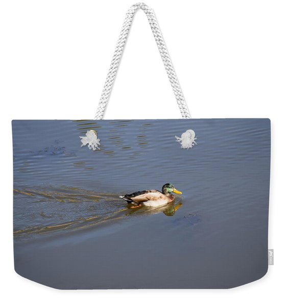 Weekender Tote Bag featuring the photograph Mallard Duck Burgess Res Co by Margarethe Binkley