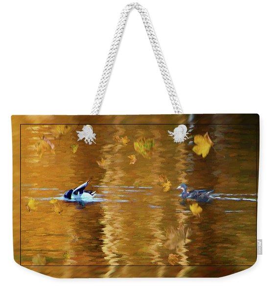 Mallard Ducks On Magnolia Pond - Painted Weekender Tote Bag