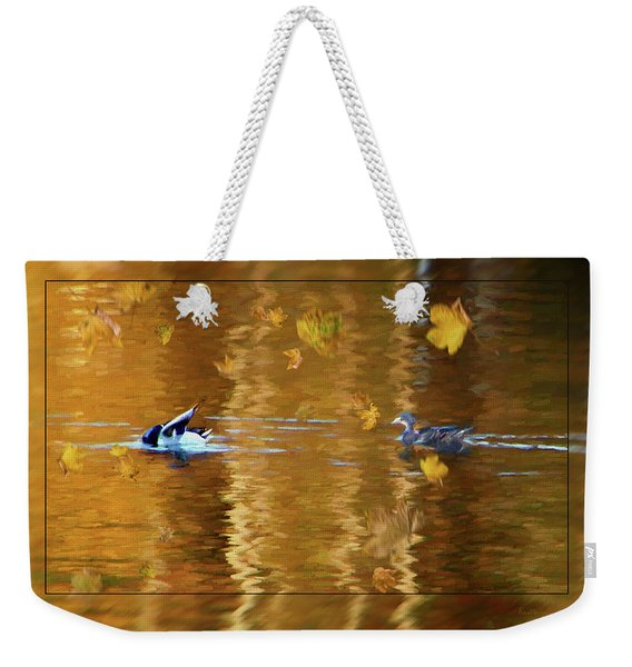 Mallard Ducks On Magnolia Pond - Painted Weekender Tote Bag