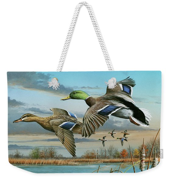 Mallards In Flight Weekender Tote Bag