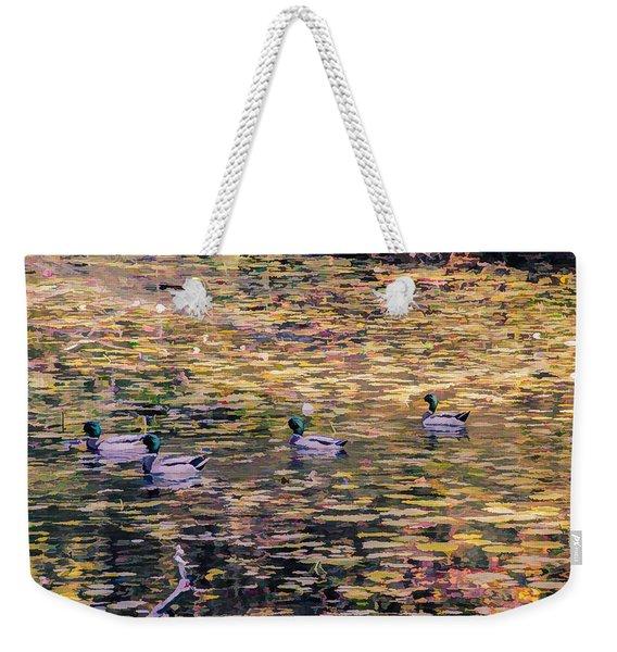 Mallards On Autumn Pond Weekender Tote Bag