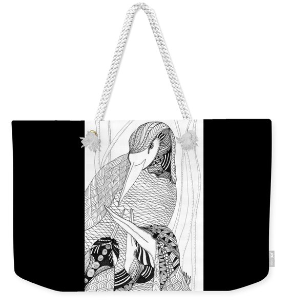 Weekender Tote Bag featuring the drawing Mama Heron by Barbara McConoughey