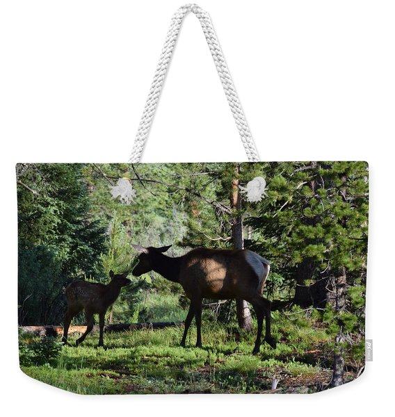 Weekender Tote Bag featuring the photograph Elk Calf - Mother Rmnp Co by Margarethe Binkley