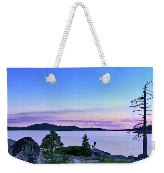 Weekender Tote Bag featuring the photograph Man And Dog by Jim Thompson