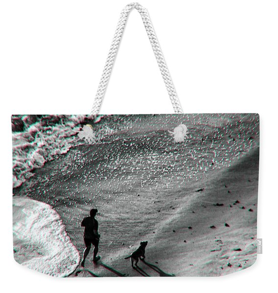 Man And Dog On The Beach Weekender Tote Bag