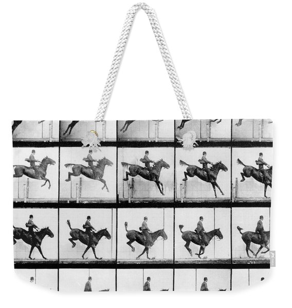 Man And Horse Jumping Weekender Tote Bag