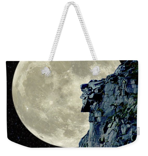 Man In The Moon Meets Old Man Of The Mountain Vertical Weekender Tote Bag