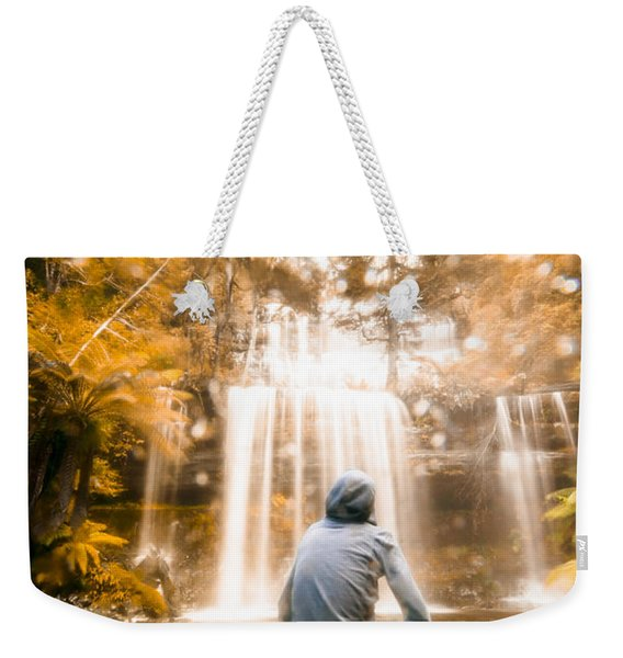 Man Looking At Waterfall Weekender Tote Bag