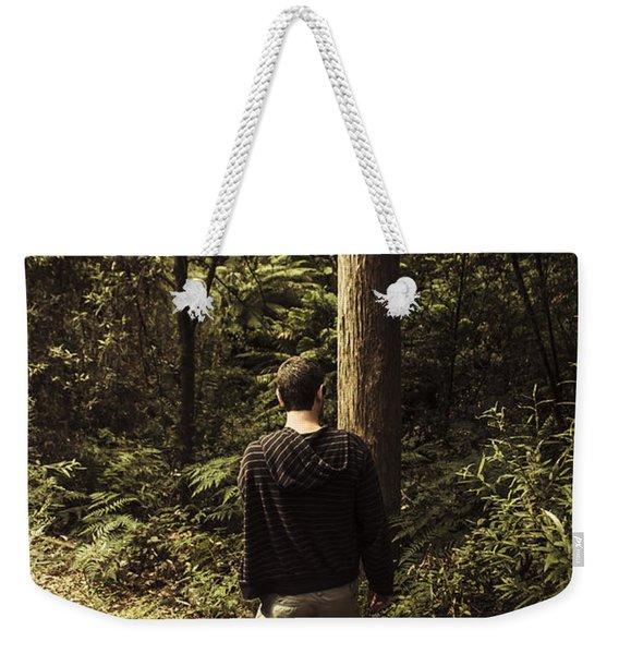 Man On Bush Walk Through North Tasmanian Forest Weekender Tote Bag