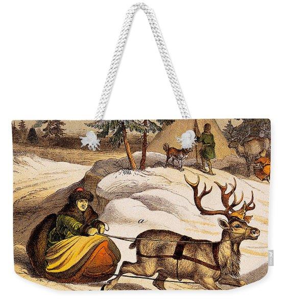 Man Riding Reindeer-drawn Sleigh Weekender Tote Bag