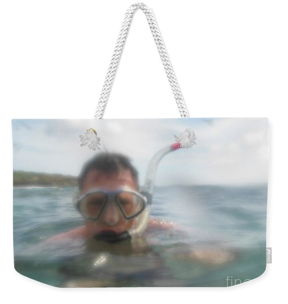 Man Snorkling In Close Up Weekender Tote Bag