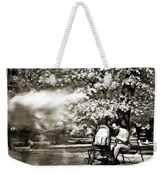 Man Strollers In The Park Weekender Tote Bag