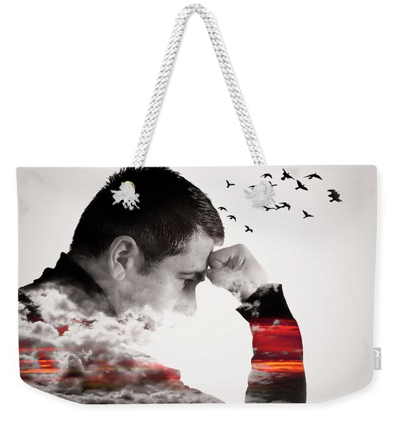 Man Thinking Double Exposure With Birds Weekender Tote Bag
