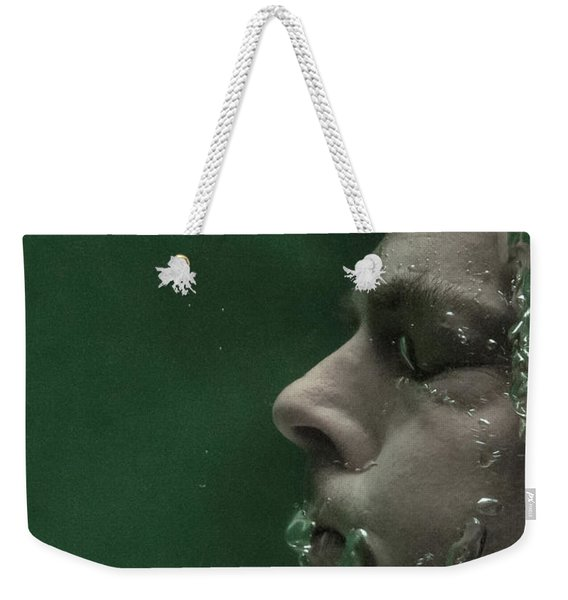 Weekender Tote Bag featuring the photograph Man Underwater One by Clayton Bastiani