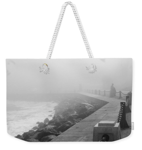 Man Waiting In Fog Weekender Tote Bag