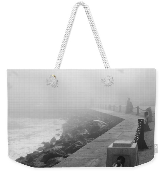 Man Waiting In Fog Weekender Tote Bag