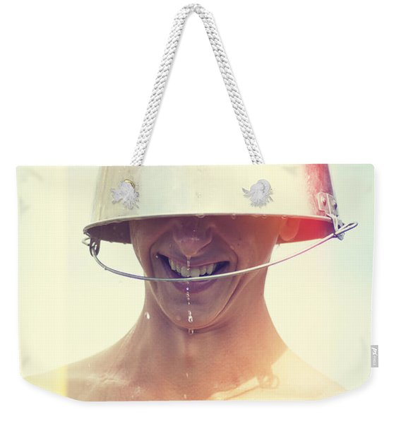 Man Wearing Water Bucket On Head In Summer Heat Weekender Tote Bag
