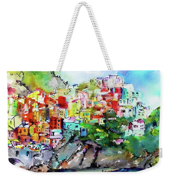 Manarola Cinque Terre Italy Colorful Watercolor Weekender Tote Bag
