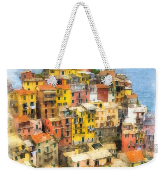 Manarola Italy Cinque Terre Watercolor Weekender Tote Bag