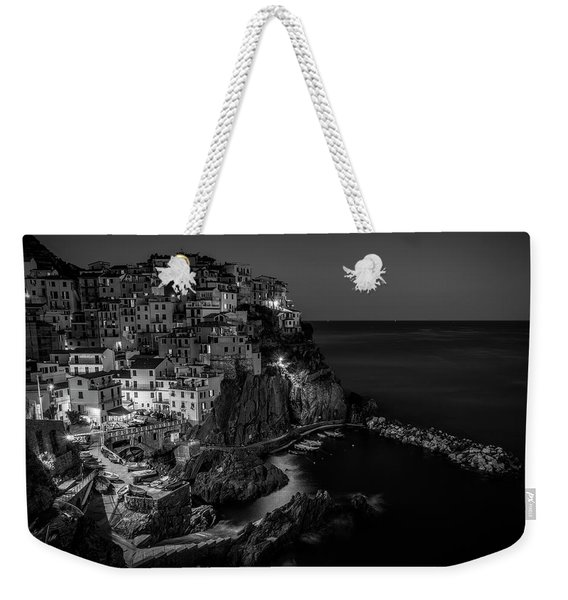 Manarola Night Cinque Terre Italy Bw Weekender Tote Bag