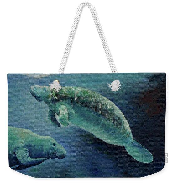 Manatees Underwater Weekender Tote Bag