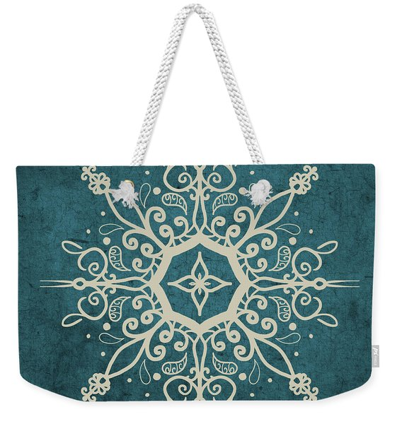 Mandala Teal And Tan Weekender Tote Bag