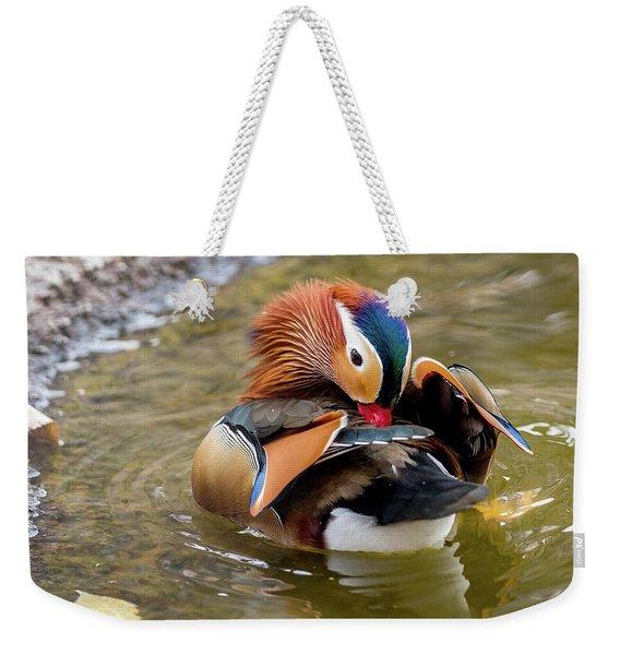 Mandarin Duck Preening Feathers Weekender Tote Bag