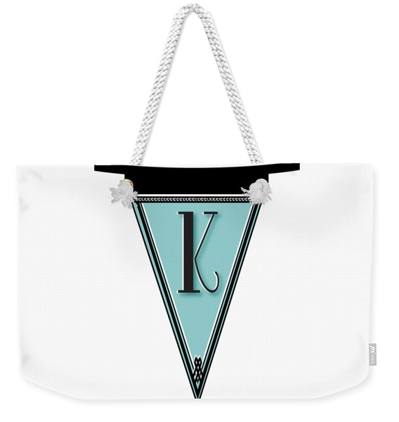 Pennant Deco Blues Banner Initial Letter K Weekender Tote Bag