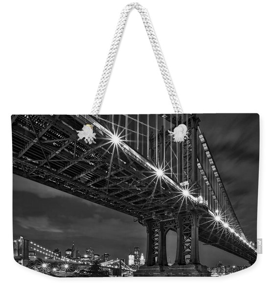 Manhattan Bridge Frames The Brooklyn Bridge Weekender Tote Bag