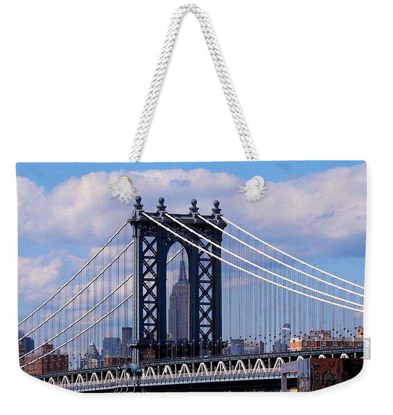 Manhattan Bridge Framing The Empire State Building Weekender Tote Bag