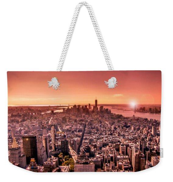Manhattan In Red Weekender Tote Bag