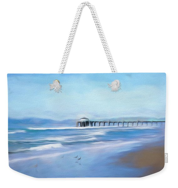 Weekender Tote Bag featuring the photograph Manhattan Pier Blue Art by Michael Hope
