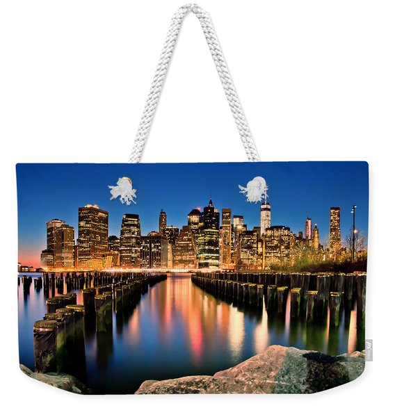 Manhattan Skyline At Dusk Weekender Tote Bag