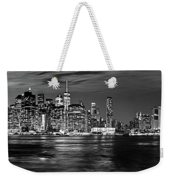 Manhattan Skyline At Dusk From Broklyn Bridge Park In Black And  Weekender Tote Bag