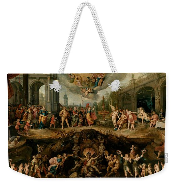 Mankind's Eternal Dilemma, The Choice Between Virtue And Vice Weekender Tote Bag