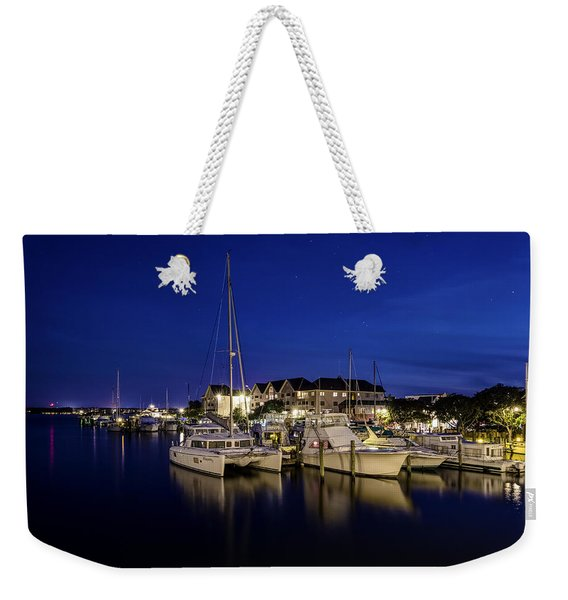 Manteo Waterfront Marina At Night Weekender Tote Bag
