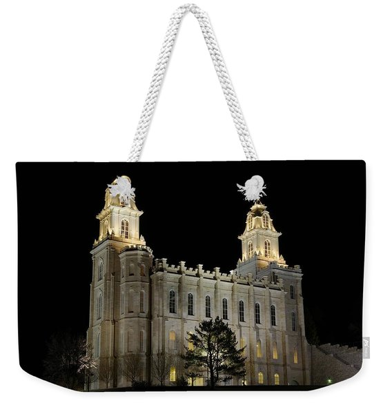 Manti Temple Night Weekender Tote Bag