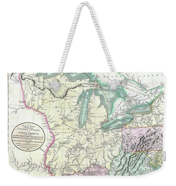 Map Of American Frontier And Great Lakes 1805 Weekender Tote Bag