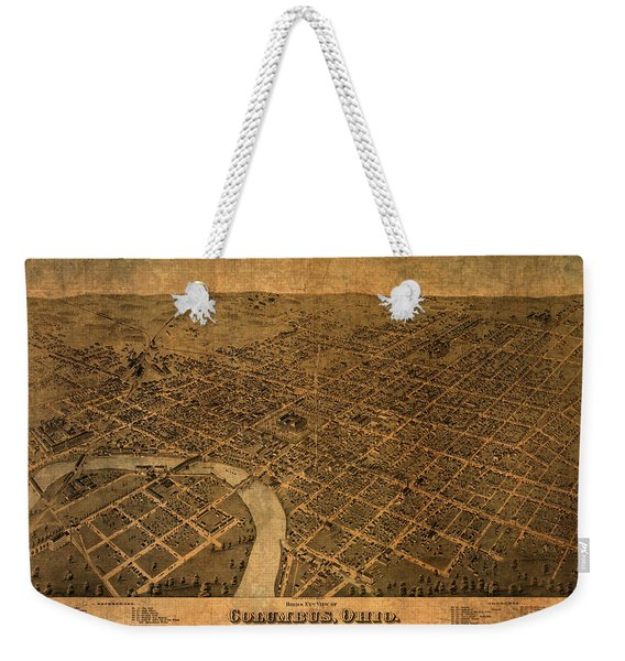Map Of Columbus Ohio Vintage Street Schematic Birds Eye View On Worn Parchment Weekender Tote Bag