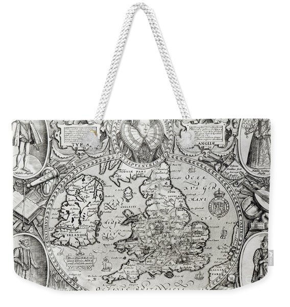 Map Of England During The Reign Of Queen Elizabeth I, 1590  Weekender Tote Bag