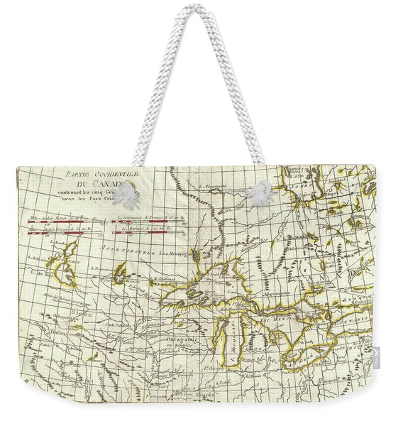 Map Of Great Lakes And Upper Mississippi Valley 1775  Weekender Tote Bag