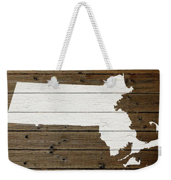 Map Of Massachusetts State Outline White Distressed Paint On Reclaimed Wood Planks Weekender Tote Bag