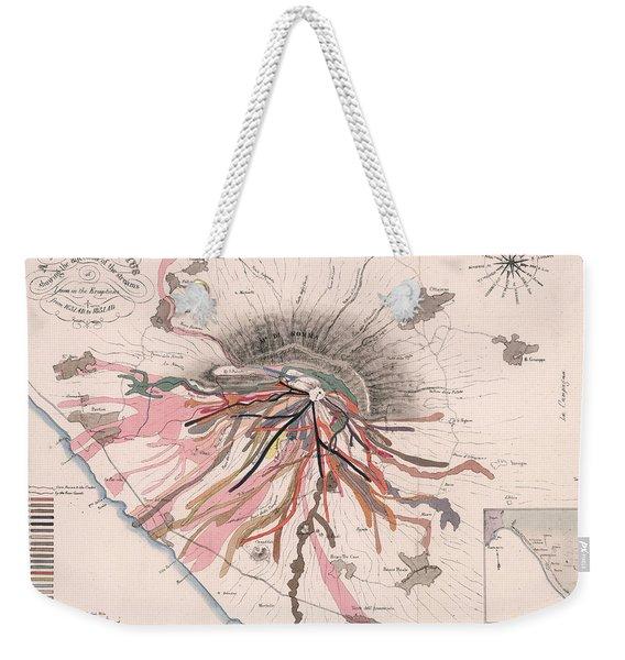Map Of Mount Vesuvius - Pompeii, Italy - Volcano - Antique Geological Map Weekender Tote Bag