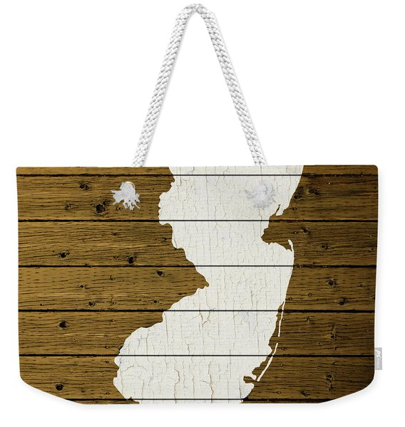 Map Of New Jersey State Outline White Distressed Paint On Reclaimed Wood Planks Custom Brown Weekender Tote Bag