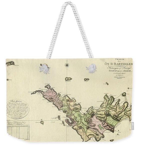 Map Of Saint Barts 1801 Weekender Tote Bag