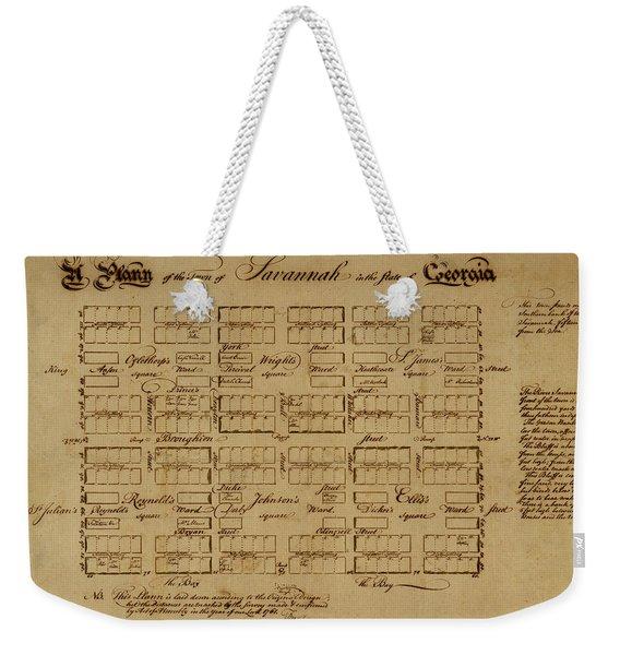 Map Of Savannah 1761 Weekender Tote Bag